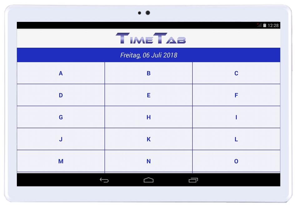 TimeTab Menüansicht